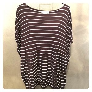 Michael Kors Black White Striped Top Size Medium